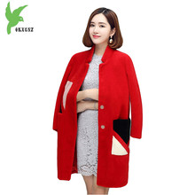 New Boutique Women Winter Imitation Fur coat Fashion Long Style Wool Fur Casual Warm Clothing Plus Size Loose Jacket OKXGNZ A903