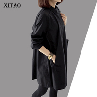 XITOA 2016 New Autumn Korea Fashion Women Loose Black Color Blouses Casual Female Long Sleeve