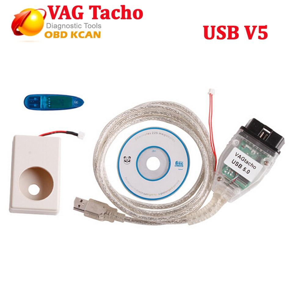 Цена за Профессиональный ЭКЮ Чип Тюнинг Инструмент С Dongle Vag Tacho 5.0 USB VAGtacho 5.0 Для MCU 24C32 или 24C64 Бесплатная Доставка
