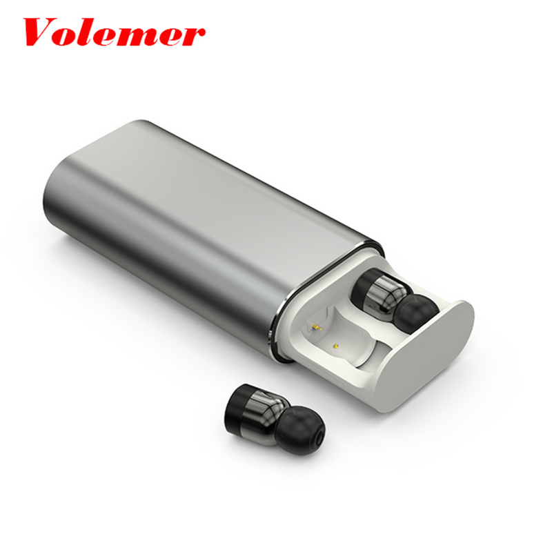 Volemer TWS T10 Twins Wireless Earbud Bluetooth earphone Stereo mini earphone 2000mAh power bank for phone sport with microphone