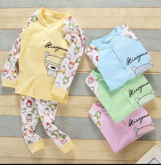 In Spring Autumn And Winter Cute Underwear Soft Pure Cotton Two Pieces Clothes Sets For Babies