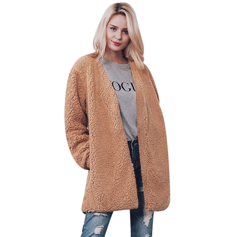 Womens Winter Faux Shearling Shaggy Gilet Fleece Coat Fluffy Long Sleeve Ladies Cardigan Outwear