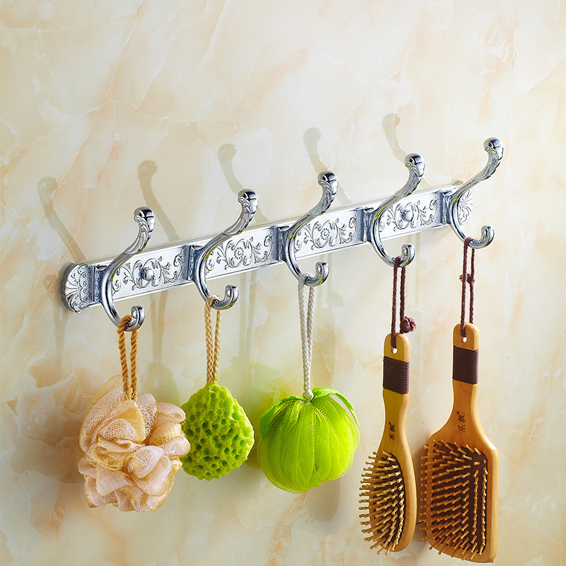 Silver Antique Carved Robe 5 Hooks Wall Mounted 304 Stainless Steel Brushed Clothes Hook Coat Hook Bathroom Accessories Cy10 ydl jd 937 stainless steel bathroom clothes hook silver page 8
