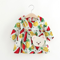 Fruit Pattern Watermelon Pineapple Baby Girl Dress Autumn Long Sleeve Infant Girl Princess Dress Girl Baby