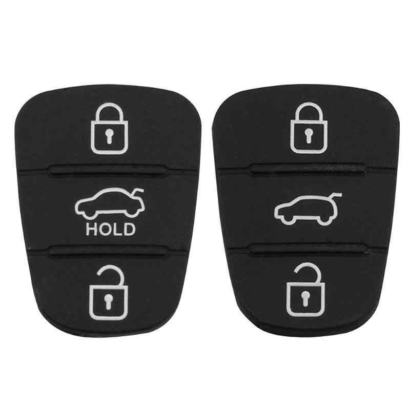 Remplacement 3 boutons en caoutchouc bouton pour Hyundai I30 IX35 Kia K2 K5 télécommande voiture clé coquille voiture porte-clés Fob