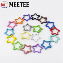 50/100pcs Meetee 35mm Candy Color Keychain Circle Rings Buckles Star Shape Key Holder Split DIY Decor Accessories