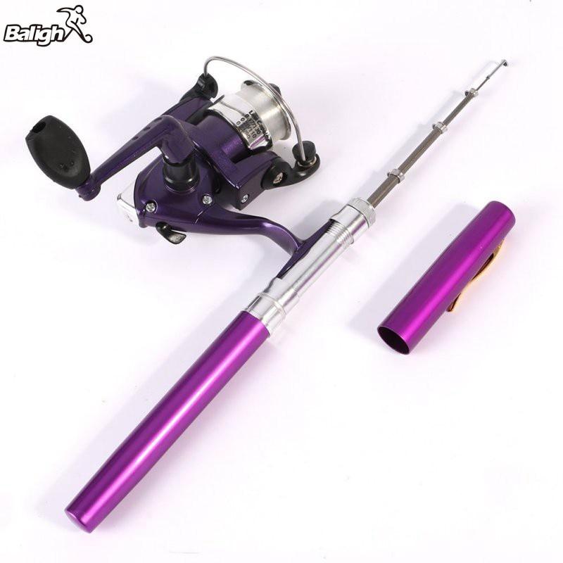 Balight Mini Fishing Rods Camping Travel Convenient Baitcasting Telescopic Pocket Pen Shape Fishing Rod + Reel+ Fishing Line