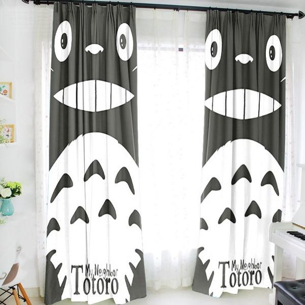 Ktz. nowy tekstylia domowe japoński Anime mój sąsiad Totoro 150*200 CM mleka tkanina z drutu dla dzieci Cartoon zasłony okna #41220 w Zasłony od Dom i ogród na  Grupa 1