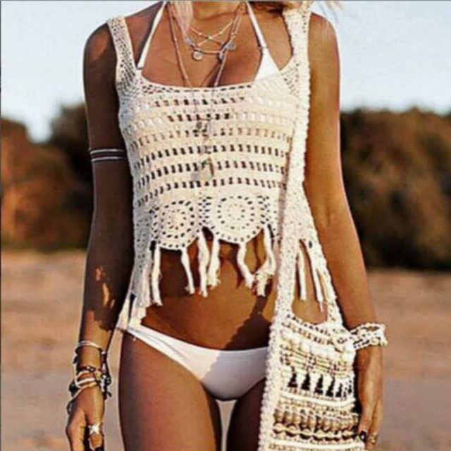 Crochet Top Handmade Knit Hollow Out Tassel Tank Top Europe Top Crochet Saidas De Praia De Croche 2016 Brand New Beach Girls