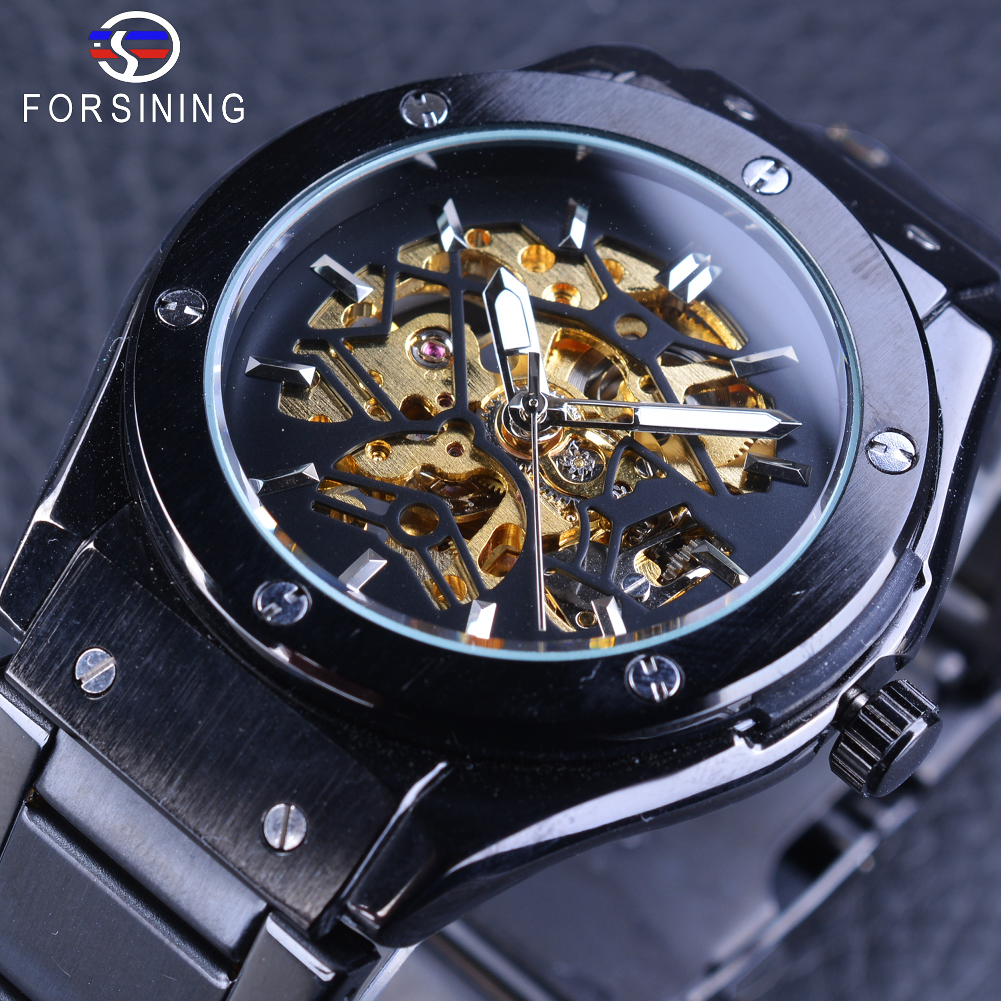 Forsining Black Stainless Steel Band Folding Clasp with Safety Golden Gear Movement Skeleton Men's Automatic Self-wind Watches forsining golden stainless steel sport watch steampunk men watch luminous openwork mechanical watches folding clasp with safety