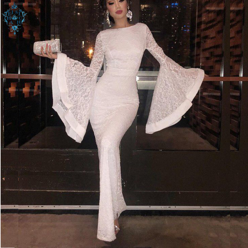 Ameision Women Ivory Lace Mermaid Evening Dresses 2019 Gown Long Scoop Full-Sleeve Floor Length Lady bodycon Party Dress