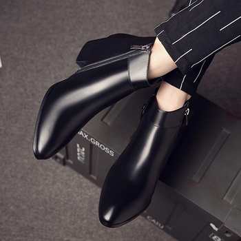 5cm High Heels Men Boots Genuine Leather Pointed Toe Black Leather Boots Handsome Ankle Boots for Men Wedding & Party