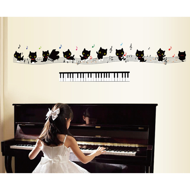 Cats Music Notes Symbols Piano Keys Wall Decal Paper Home Sticker