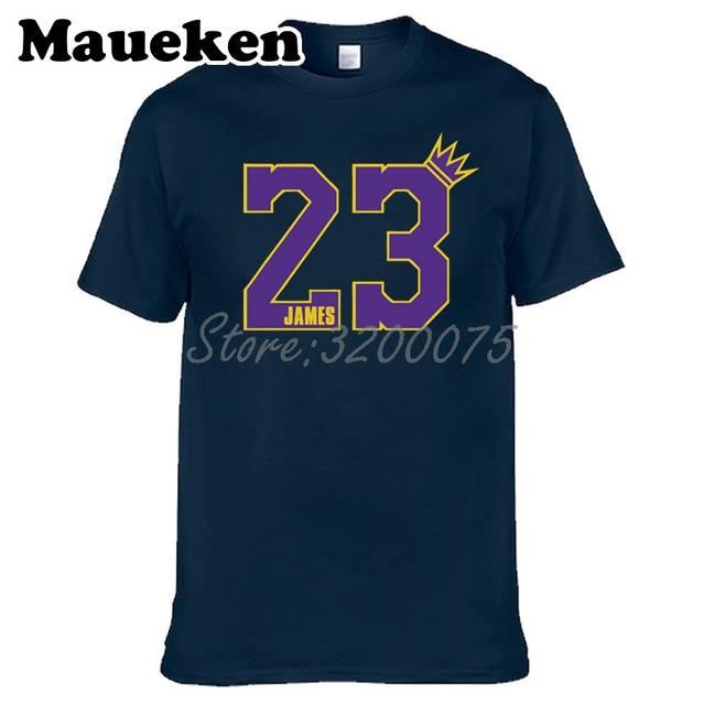 super popular 777f5 36619 US $18.88 |Men King GOAT 23 LeBron James T shirt Los Angeles LA Cleveland  Clothes T Shirt Men's tshirt for fans tee W18052105-in T-Shirts from Men's  ...