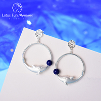 Lotus Fun Moment Real 925 Sterling Silver Natural Creative Designer Fine Jewelry Joyful Dolphin Park Dangle Earrings for Women