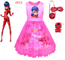 2019 new Ladybug cosplay  girl princess mesh dress children's birthday gift show performance clothing new pattern girl princess foreign trade sleeping princess show serve thick dress mesh