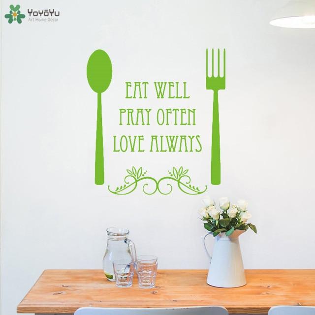 Yoyoyu Wall Decal Modern Kitchen Fork Spoon Wall Sticker Quotes Eat