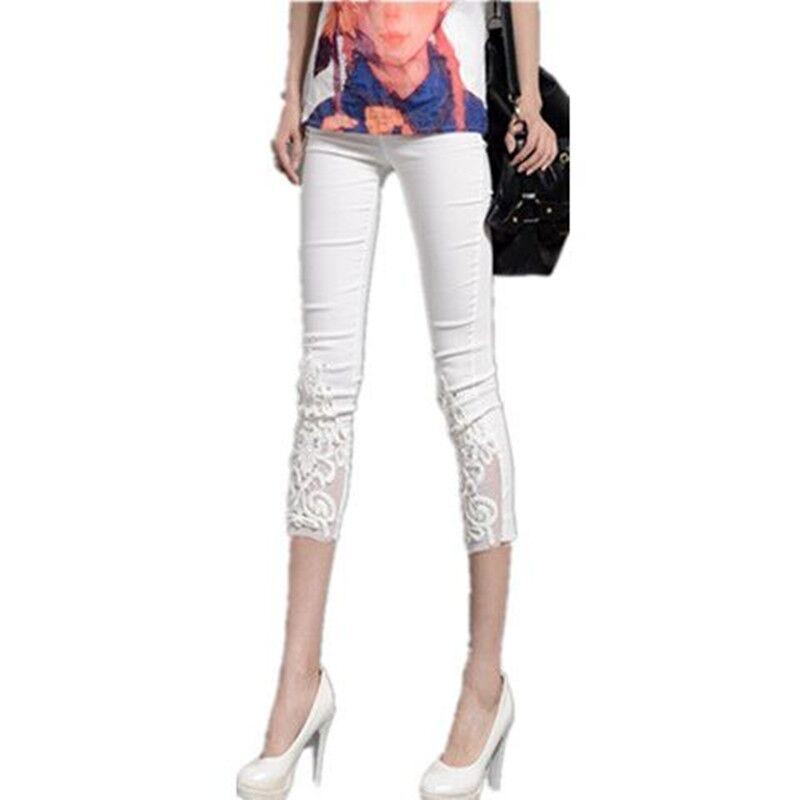 FSDKFAA Wholesale New women summer casual candy color skinny slim pencil   pants   trousers Lace Diamond   capris   plus size S-4XL