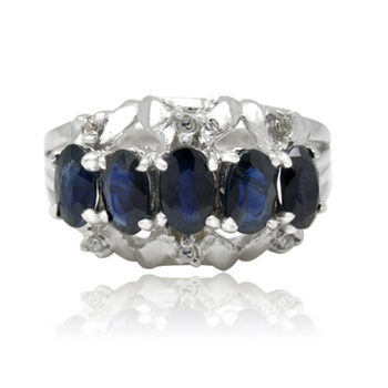 Qi Xuan_Fashion Jewelry_Dark Blue Stone Elegant Flower Rings_S925 Solid Sliver Fashion Rings_Manufacturer Directly Sale