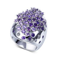 Fashion Colorful Crystal Large Rings For Party With AAA Cubic Zirconia Stones Trendy Jewelry For Women