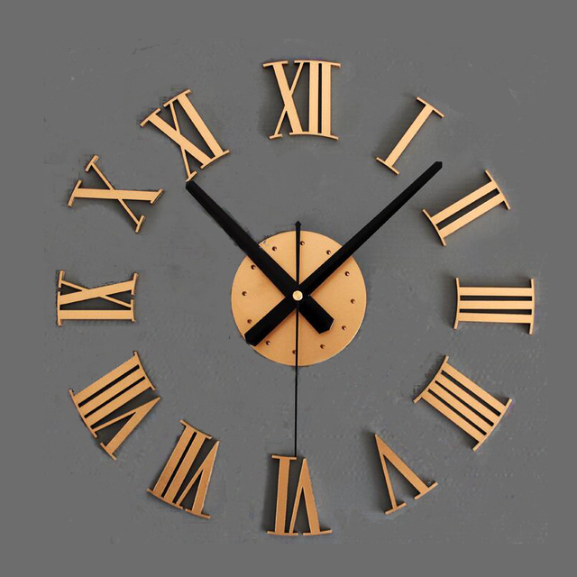 2016 new home decorationsclassic black roman numerals 3d stereo diy wall sticker clock