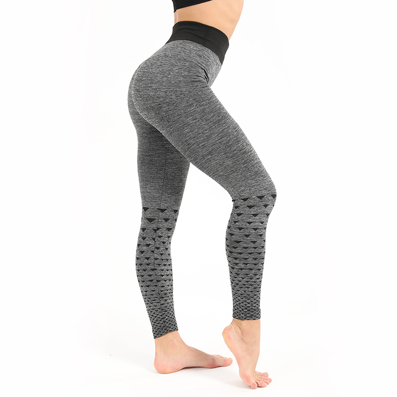 Slim Leggings Push-Up High-Waist Workout Casual Gray Polyester Sexy