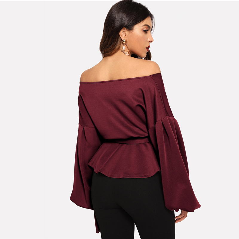 SHEIN White Office Lady Elegant Lantern Sleeve Surplice Peplum Off the Shoulder Solid Blouse Autumn Sexy Women Tops And Blouses 26