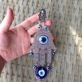 Fátima mano de hamsa turco mal de ojo azul colgante encanto ornamento lucky eye nazar judía kabbalah amuleto protector de la decoración del hogar