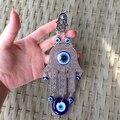 Fatima mão hamsa turco azul evil eye charme pendurado ornamento lucky eye nazar judaica kabbalah amuleto protetor de decoração para casa
