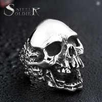 Acier soldat diable punk anneau de crâne en acier inoxydable anneau vintage pour hommes en acier titane livraison directe bijoux