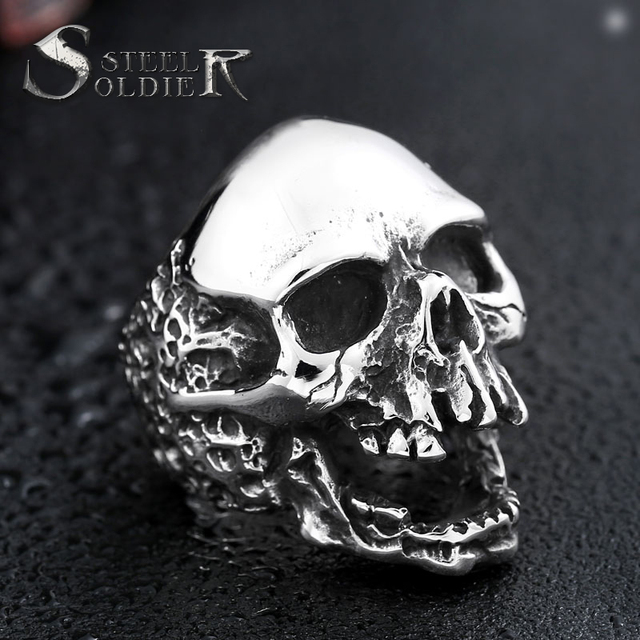 Steel soldier devil punk skull ring stainless steel vintage ring for men titanium steel drop shipping jewelry