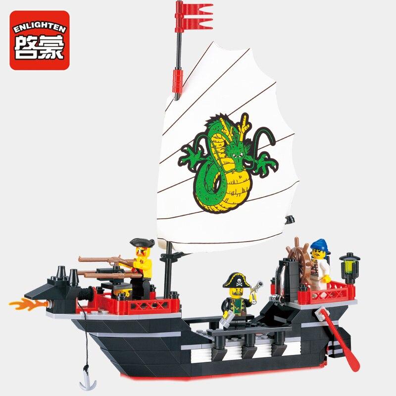 Enlighten 301 Building Blocks Pirate Ship Dragon Boat Building Blocks 211+pcs Educational DIY Blocks Playmobil Toys For Children enlighten 306 pirate ship scrap dock building blocks model toys compatible with lepin educational gift for children