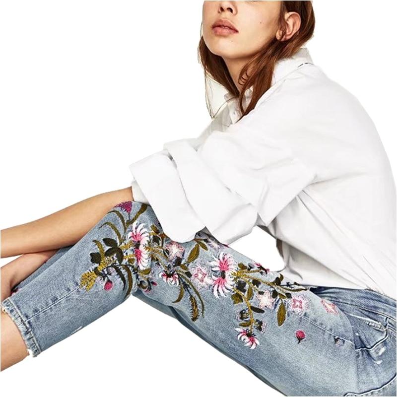Bordado Diseño Arrancó Marca Pantalón Rayado Casual Algodón 2019 Elástico Moda Jeans Flores Las Mujeres Lápiz De Inteligente Gran fnSxSqXpI