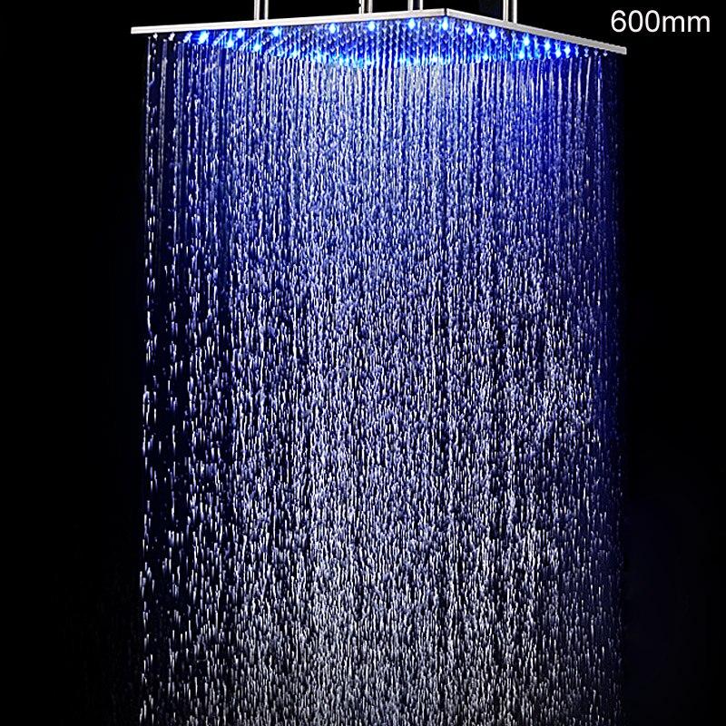 Hotel Decke Montiert 24 zoll Große REGEN Massage Dusche Panel Kopf Hydro Power LED Showerhead 304 Edelstahl Gebürstet