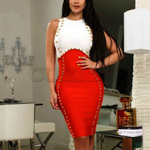 Cuerly Summer New 2019 Hot Selling Elegant Embellished Sexy Red Bodycon Bandage Dress Women Celebrity Evening Party