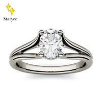 Test Positive Moissanite Lab Diamond Engagement Wedding Band Ring For Women VS DEF 0.9CT Real Platinum PT950 Charm Jewelry