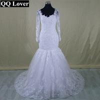 QQ Lover 2017 New Vestido De Novia Mermaid Wedding Dresses Court Train Long Sleeve Customized Cheap Long Lace Bridal Gown