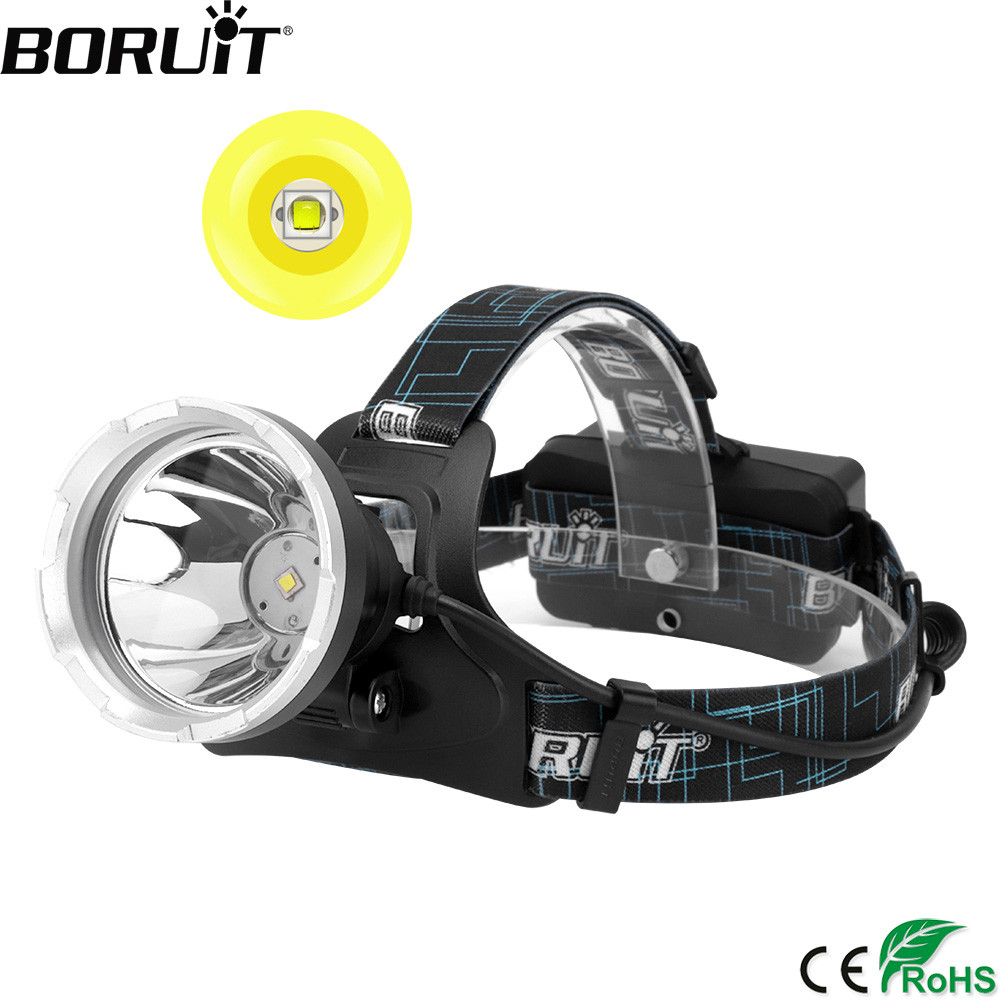 BORUIT Super Bright B10 XM-L2 LED Headlight Micro USB Charge 18650 Battery Headlamp 4-Mode Head Torch Camping Hunting Flashlight