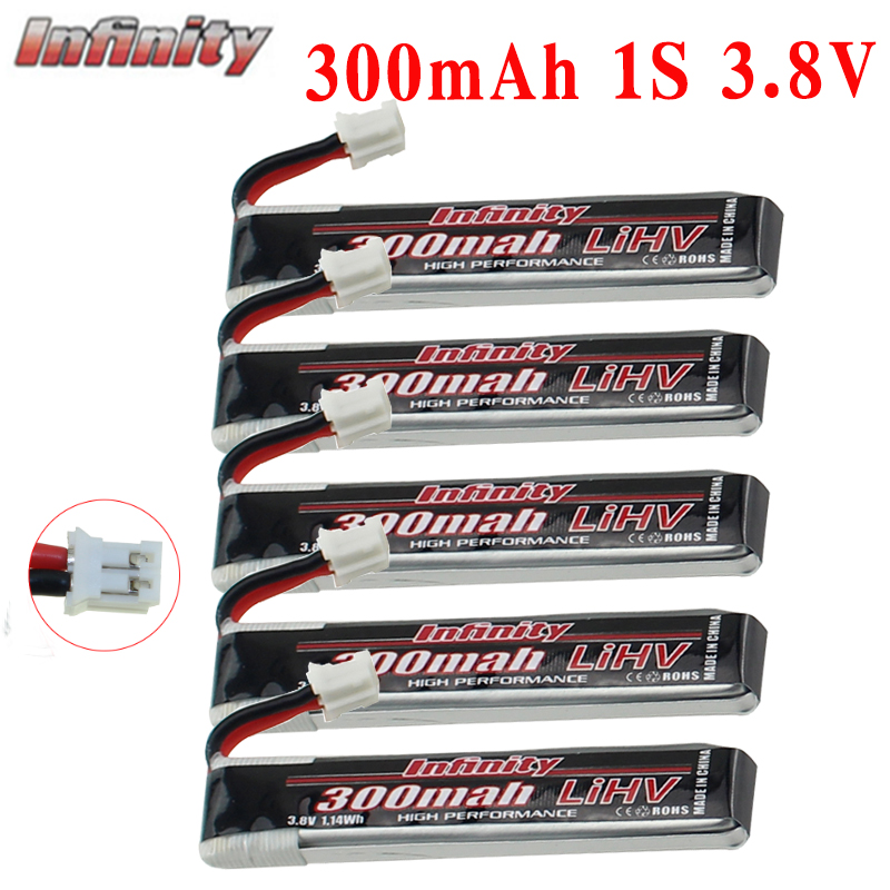 5PCS Infinity Lipo Battery 300mAh 1S 3.8V 85C 1S Rechargeable FPV Battery With PH2.0 Plug For Indoor Racing Drone Toy