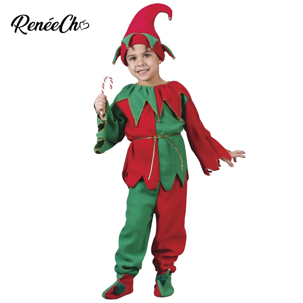 2018 Kids Christmas Costume Child Elf Costumes Boys Costume Shirt Pants Hat Belt Shoes Full Set Children Christmas Suit