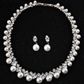 DOKOL Luxury AAA+ CZ Pearl Jewelry Sets for Brides New Fashion White Gold Plated Wedding Necklace Sets bijoux femme DKS0027