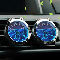 Car Ornaments Auto A C Vent Clip Luminous Clock Thermometer Time Watch Automobile Car Air Freshener