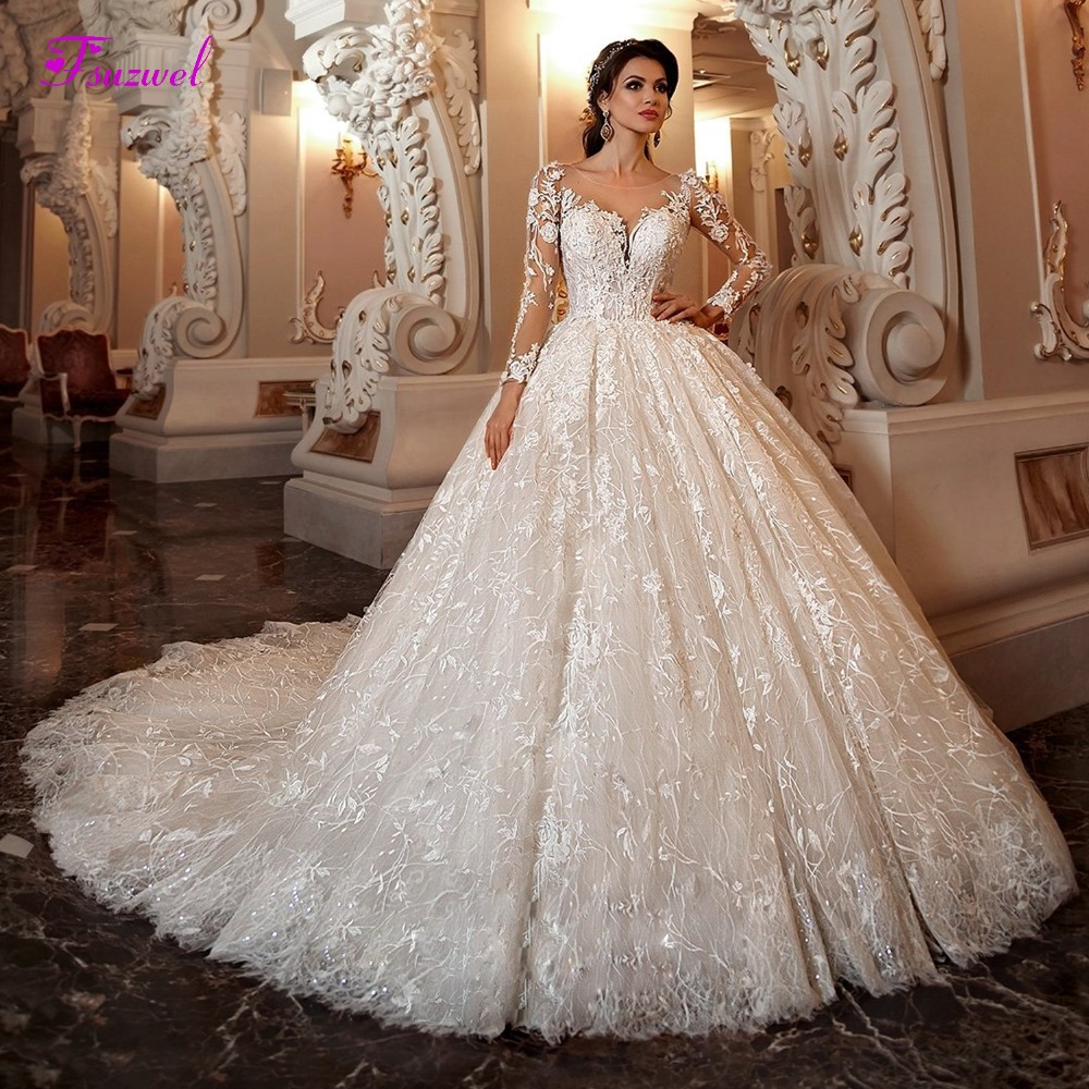 Fsuzwel Ball-Gown Wedding-Dress Beaded Train Scoop-Neck Lace Appliques Long-Sleeve Chapel title=