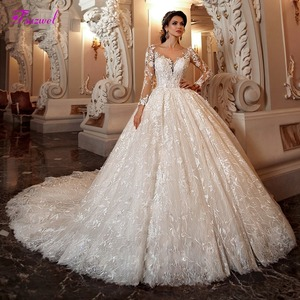 Fsuzwel Gorgeous Appliques Chapel Train Lace Ball Gown Wedding Dress 2020 Sexy Scoop Neck Long Sleeve Beaded Princess Bride Gown(China)