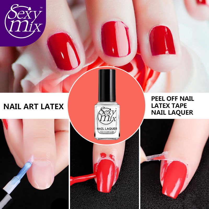 Sexy Mix 7ML Nail Art Tools Base Coat Care Finger Skin Protected Liquid Palisade Easy Clean Nail Polish Latex Tape New Arrival
