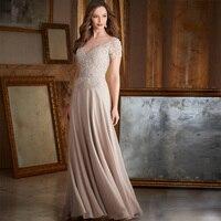 Elegant Modern O Neck short sleeve Floor length Applique Beaded Crystal waist Chiffon wedding mother dress Mother of the Bride