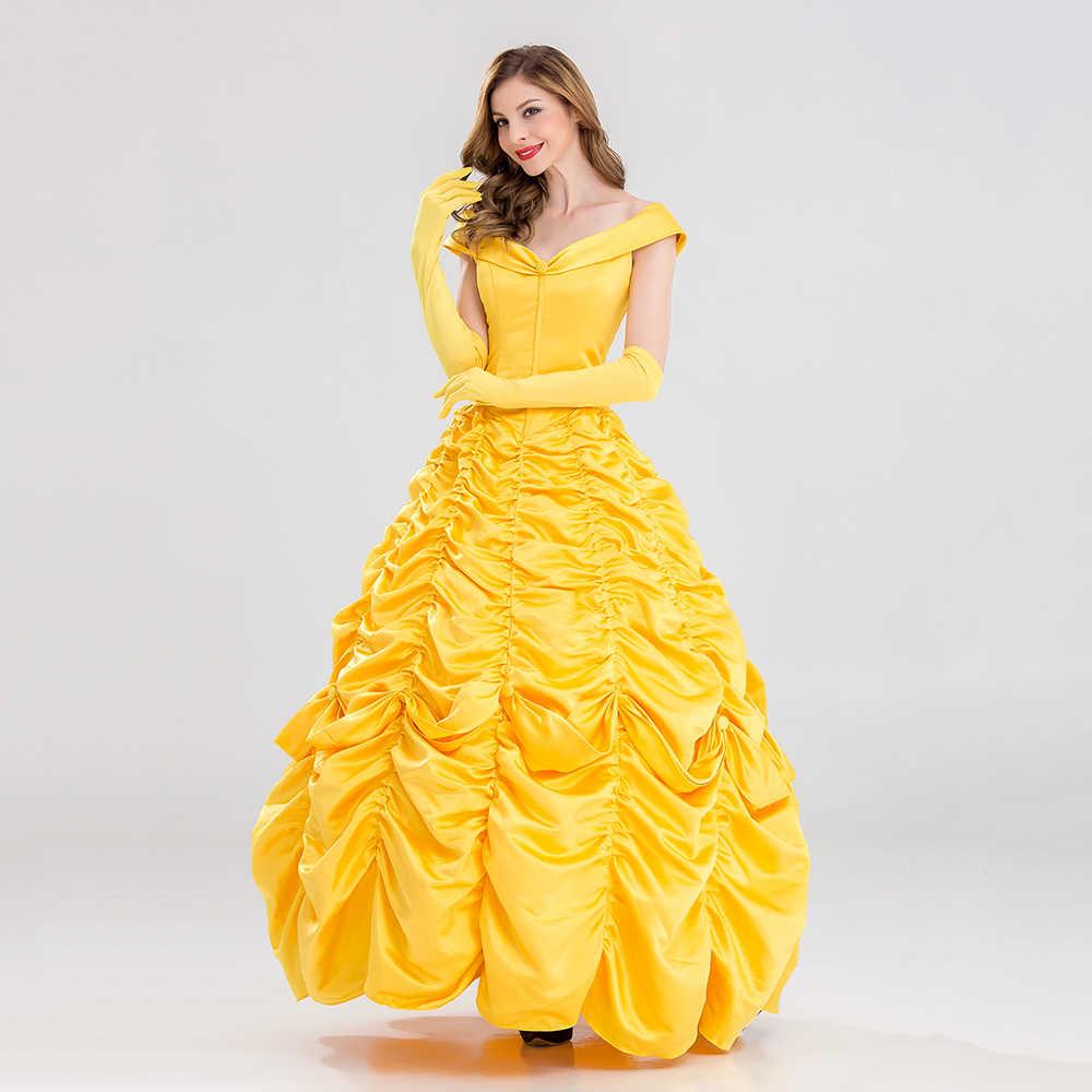 Disfraz de fantasía de Halloween de VASHEJIANG, Vestido largo de disfraz de princesa Bella para adultos, disfraz de La Bella y La Bestia del Sur para mujer