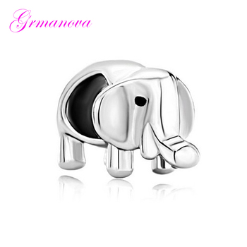 Cute little elephant European big hole charm beads female classic pop amulet Fit Pandora Bracelet Women's DIY Jewelry image