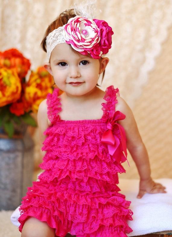 4b69dba4f4c0 Baby Hot Pink Lace Rompers Infant Girls Posh Petti Ruffles Romper with  Strap Ribbon Bow and Flower Headband Set Newborn Jumpsuit
