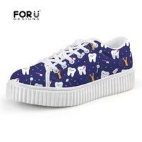 FORUDESIGNS Platform Flats Women's Shoes Brand Designer Cute Dentist Pattern Women Height Increasing Shoes Woman Dentista Mujer